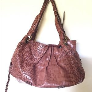 Jessica Simpson Brown Leather Large Tote Hobo Bag